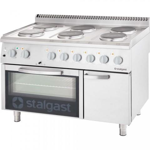 kuchnia elektryczna 6 palnikowa wym. 1200x700x850 z piekarnikiem elektrycznym 15,6+7 kW (3 systemy grzania)