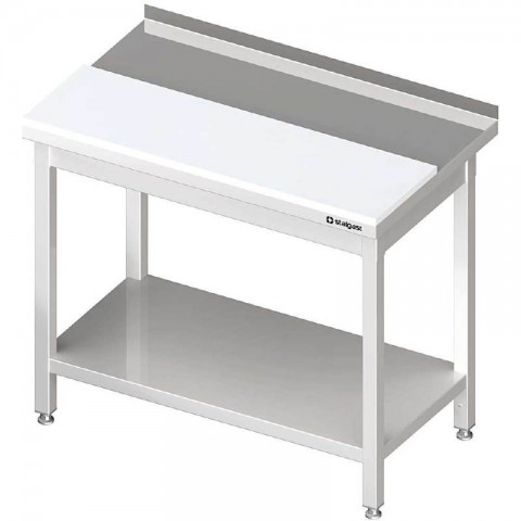 Stół przyścienny z płytą polietylenową,i półką 1100x700x850 mm spawany