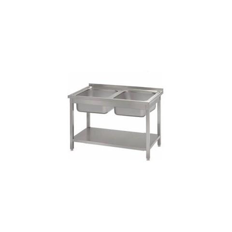 Stół ze zlewem 2-komorowym i półką 1000 x 600 x 850mm [STALGAST]